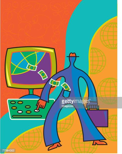 internet banking - fund manager stock illustrations, clip art, cartoons, & icons
