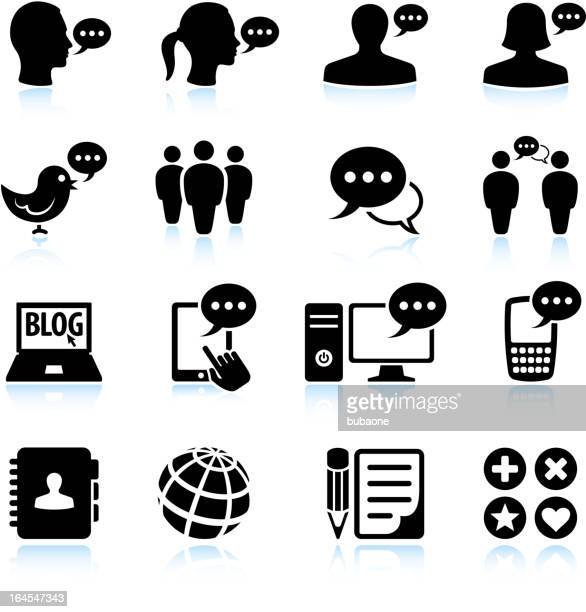 internet chat and online communications black & white icon set - diary stock illustrations