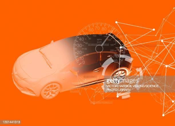 internet connected car, illustration - 情報機器点のイラスト素材/クリップアート素材/マンガ素材/アイコン素材