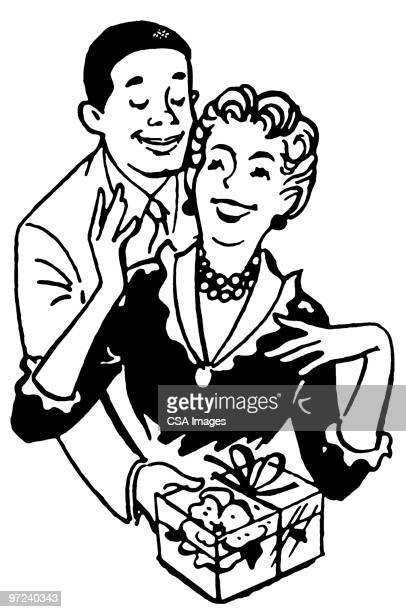 interracial couple - giving stock illustrations