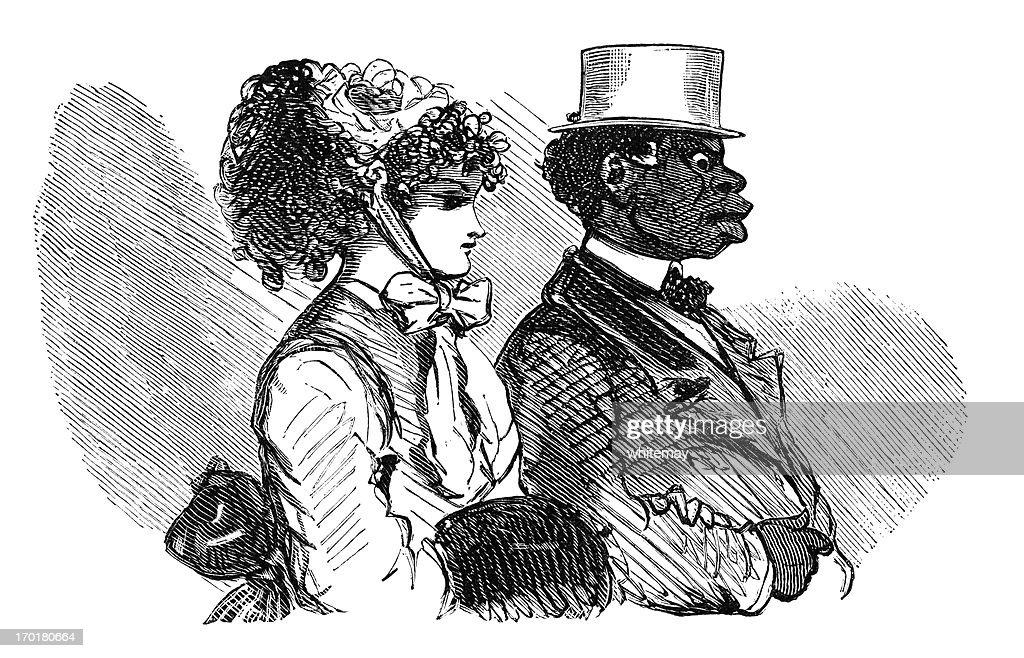 Interracial francês casal : Ilustração
