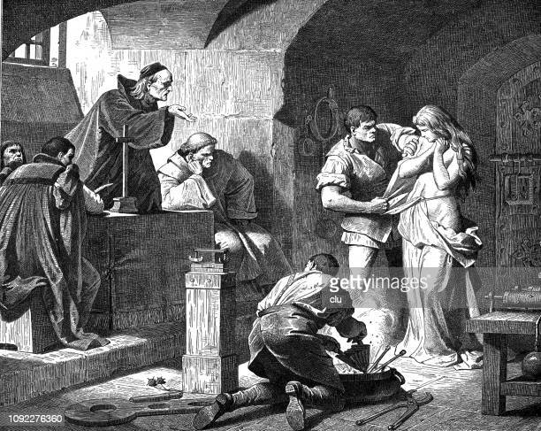 interrogation of a witch by priests - female torture stock illustrations