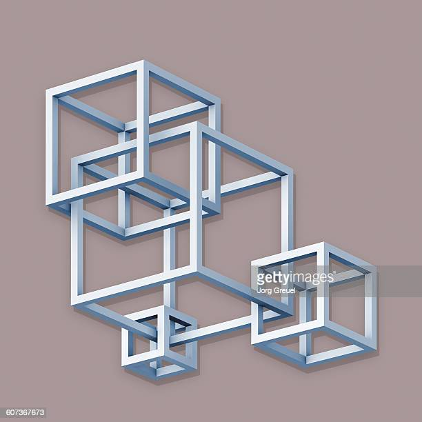 intersecting cubes - four objects stock illustrations