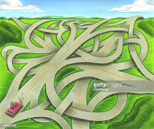 interstate highway road interchange background - flipping a coin stock illustrations, clip art, cartoons, & icons
