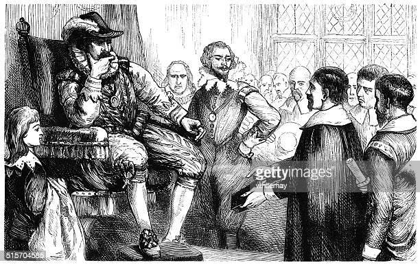 ilustrações, clipart, desenhos animados e ícones de entrevista do puritans com king james i - petição