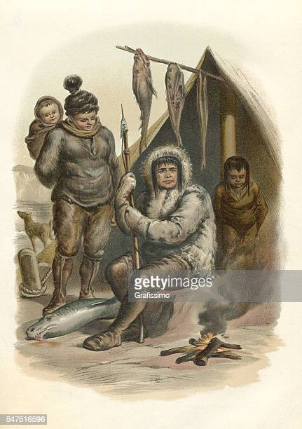 illustrations, cliparts, dessins animés et icônes de inuit family sitting at fireplace with fish engraving 1880 - igloo