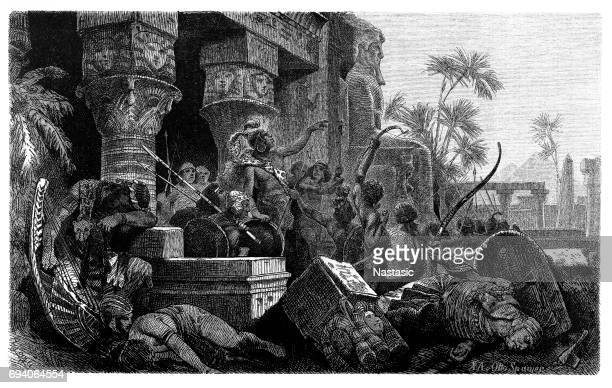 invasion of the hyksos in egypt c.1650 bc - north african ethnicity stock illustrations, clip art, cartoons, & icons