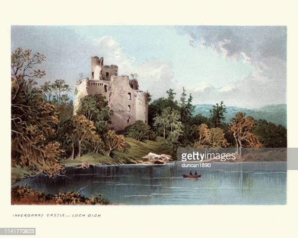 invergarry castle, loch oich, scottish highlands, scotland, 19th century - castle stock illustrations