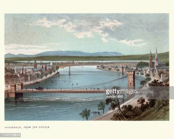 inverness, scotland from the castle, 19th century - inverness scotland stock illustrations