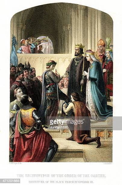 investiture of the black prince by edward iii - circa 14th century stock illustrations, clip art, cartoons, & icons