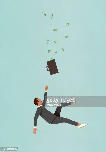 investor with briefcase full of money falling - vertical stock illustrations