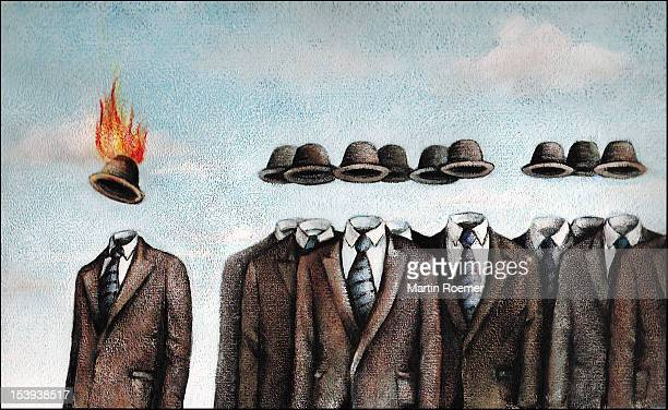invisible men wearing suits and bowler hats - the grass is always greener stock illustrations, clip art, cartoons, & icons