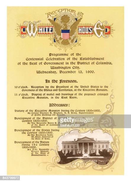 Invitation to the Washington, D.C., Centennial Celebration, United States, Antique American Illustration, 1900