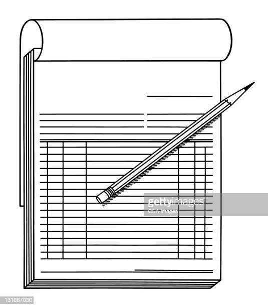 invoice and pencil - report stock illustrations