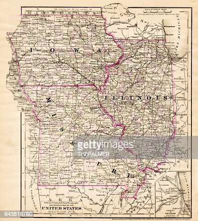 Iowa Missouri Illinois Map 1881 Stock Illustration - Getty Images on