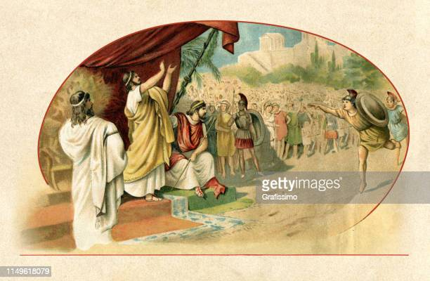 iphitos and lycurgus at the first olympic games 776 bc - greece stock illustrations