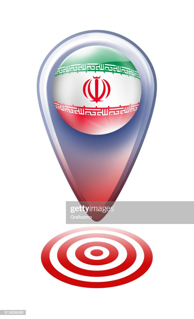 Iran Button Map Pointer With Iranian Flag Isolated On White Stock