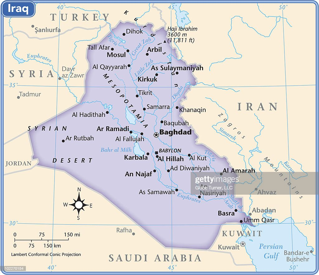 Iraq Country Map Stock-Illustration - Getty Images
