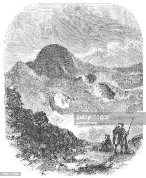 irazú volcano crater in costa rica (19th century) - volcanic crater stock illustrations, clip art, cartoons, & icons