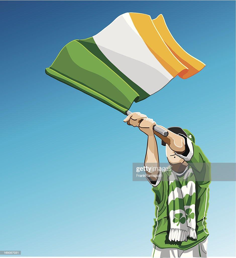 Ireland Waving Flag Soccer Fan : Vector Art
