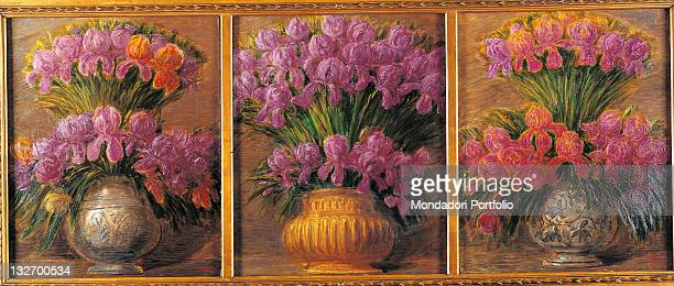 Italy, Lombardy, Milan, private collection. Triptych iris vases pink purple red brown vase.