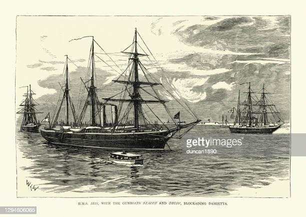 hms iris and gunboats beacon and decoy blockading damietta during anglo-egyptian war - royal navy stock illustrations