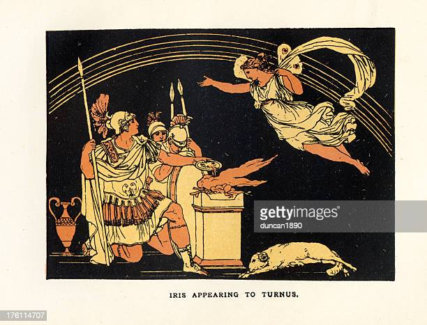 bildbanksillustrationer, clip art samt tecknat material och ikoner med iris appearing to turnus - grekisk gudinna