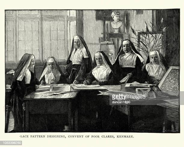 irish nuns designing lace patterns, 19th century - nun stock illustrations