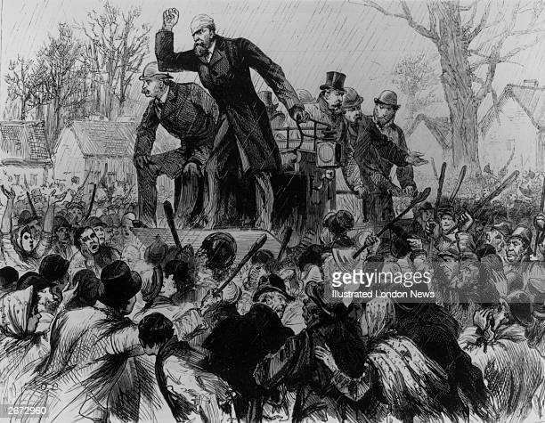 Irish politician Charles Stewart Parnell addressing a hostile crowd during the Kilkenny byelection at the time of his disputed leadership of the...