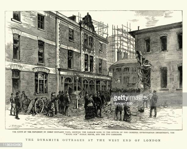 irish terrorism dynamite attack, west end london, 19th century - new scotland yard stock illustrations
