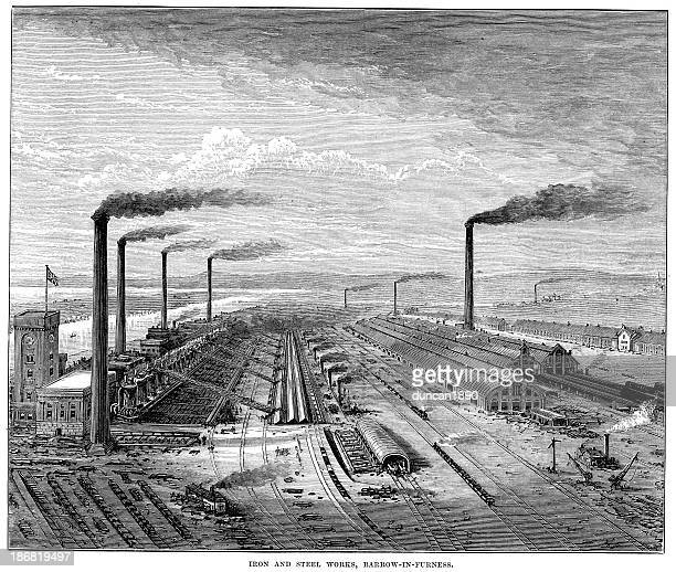 iron and steel works barrow-in-furness - metal industry stock illustrations