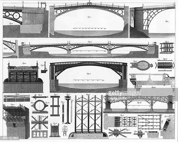 ilustrações, clipart, desenhos animados e ícones de construção de ponte de ferro - armação de madeira