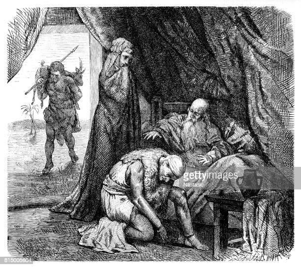 isaac blessing jacob (genesis 27) - old testament stock illustrations