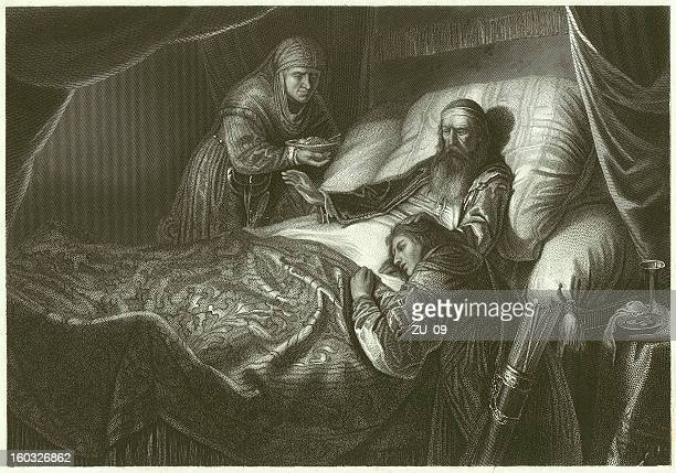 isaac blessing jacob, steel engraving after jan lievens, published c.1860 - old testament stock illustrations
