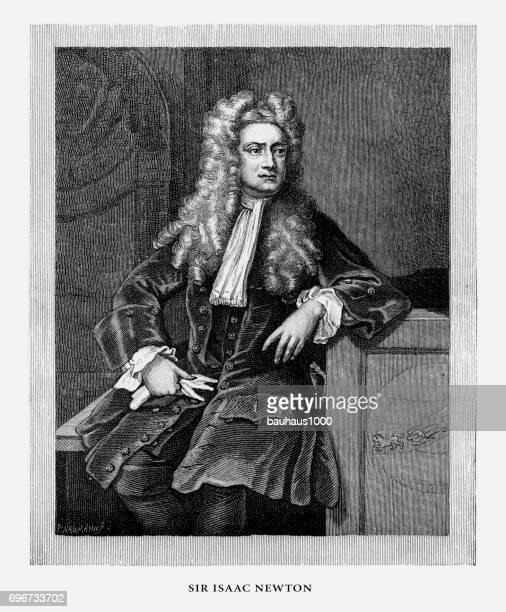 Isaac Newton, Sir Isaac Newton, English Victorian Engraving, 1887