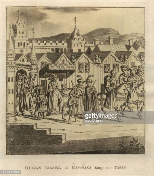 isabeau of bavaria entry into paris, 14th century - princess stock illustrations