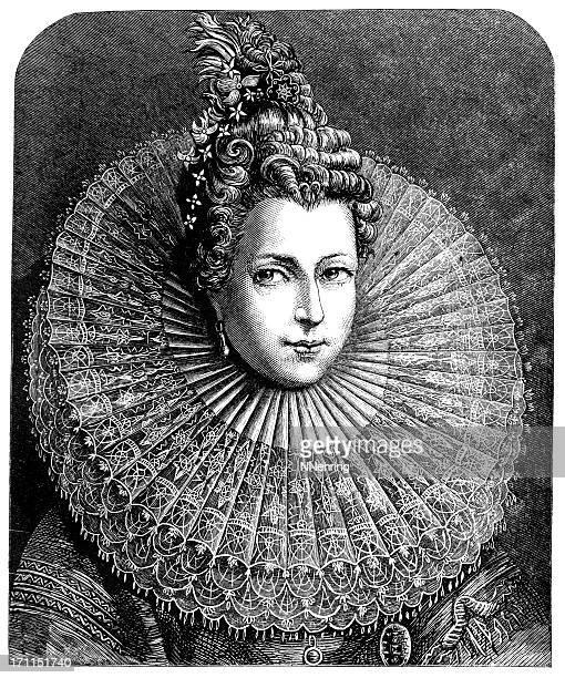 isabella clara eugenia wearing lace collar engraving - 17th century stock illustrations, clip art, cartoons, & icons