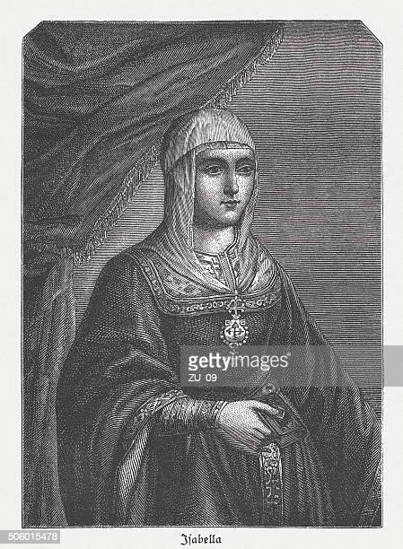 isabella i (1451-1504), queen of castille, wood engraving, published c.1882 - aragon stock illustrations