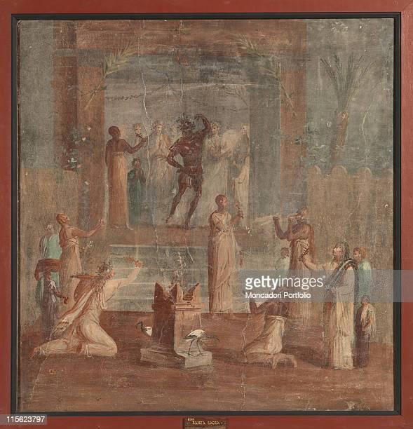 Italy, Campania, Naples, National Archaeological Museum, from Herculaneum. Whole artwork. Men Isiac ceremony priestess birds.