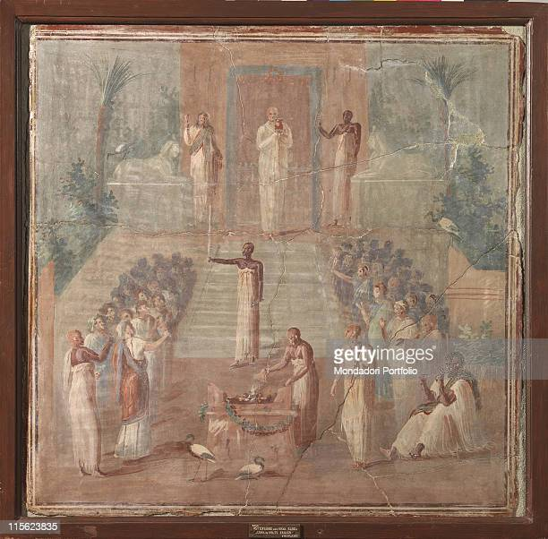 Italy, Campania, Naples, National Archaeological Museum, from Herculaneum. Whole artwork. Men Isiac ceremony priest birds.