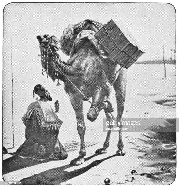 islamic man stopping to pray in rural egypt - ottoman empire - north african ethnicity stock illustrations, clip art, cartoons, & icons