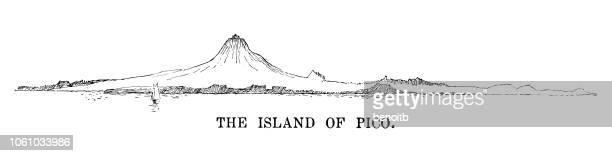 island of pico, portugal - stratovolcano stock illustrations, clip art, cartoons, & icons