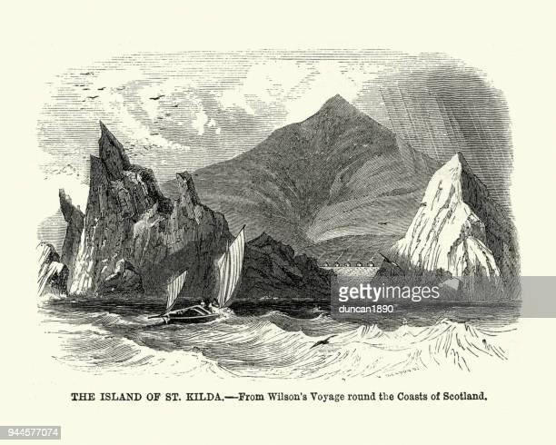 island of st kilda, scotland, 19th century - st. kilda stock illustrations