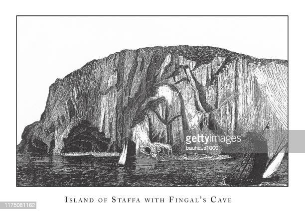 island of staffa with fingal's cave, caves, icebergs, lava and rock formations engraving antique illustration, published 1851 - isle of staffa stock illustrations, clip art, cartoons, & icons
