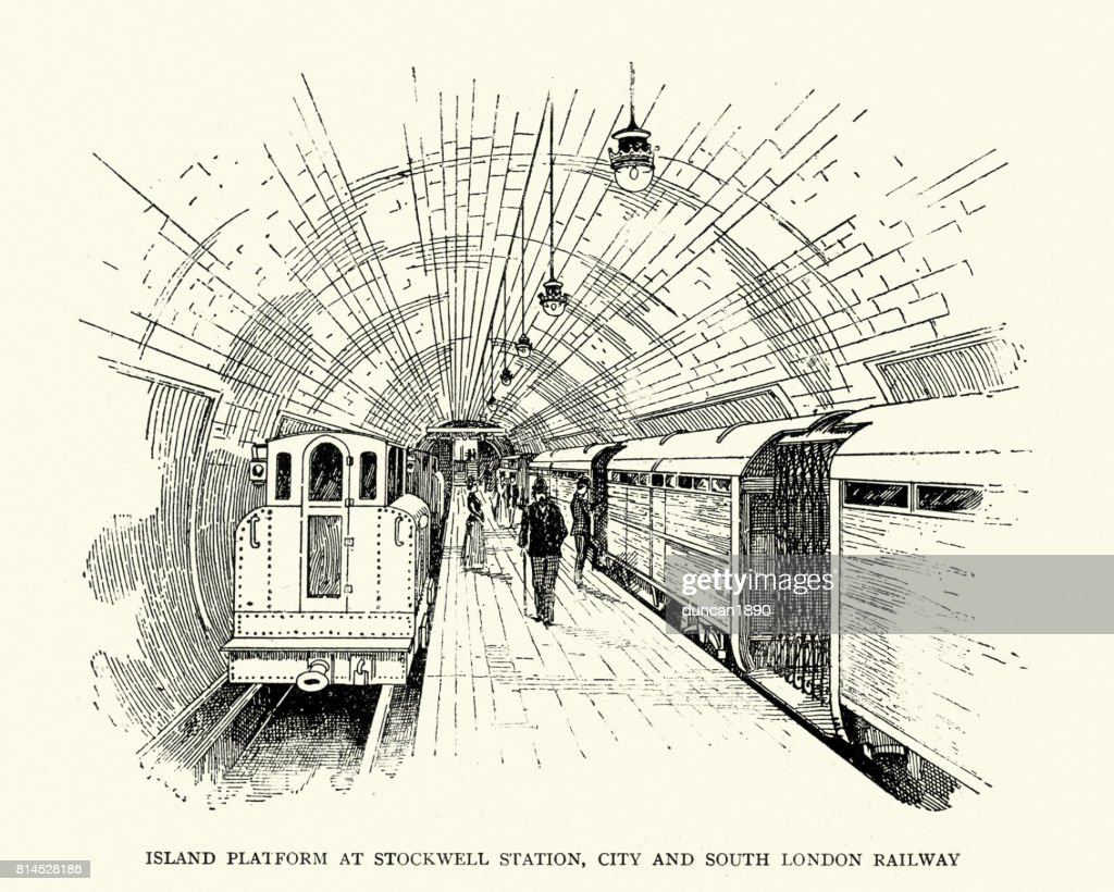 Island platform at Stockwell tube station, London, 1899 : stock illustration