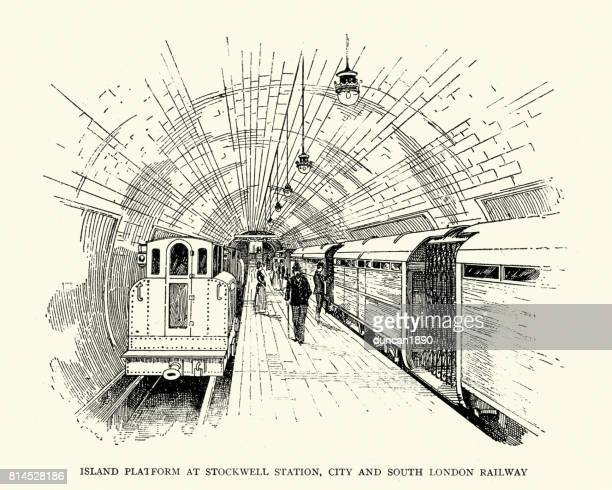 island platform at stockwell tube station, london, 1899 - subway train stock illustrations, clip art, cartoons, & icons