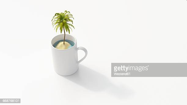 Island with palm in coffee mug, 3D Rendering