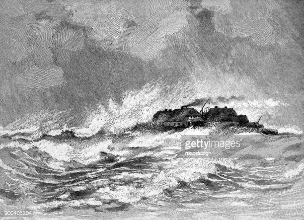 isle surrounded by waves during storm - 1896 - island stock illustrations, clip art, cartoons, & icons
