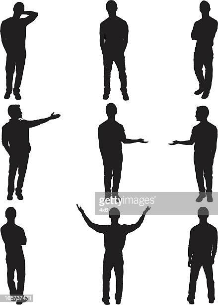 Isolated men standing and posing