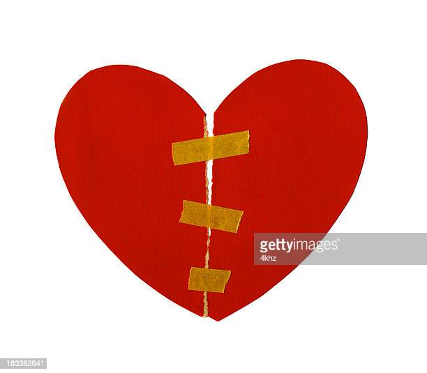 isolated paper heart torn and mend - grief stock illustrations